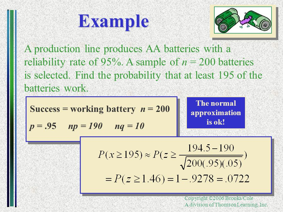 Copyright ©2006 Brooks/Cole A division of Thomson Learning, Inc.Example A production line produces AA batteries with a reliability rate of 95%. A samp