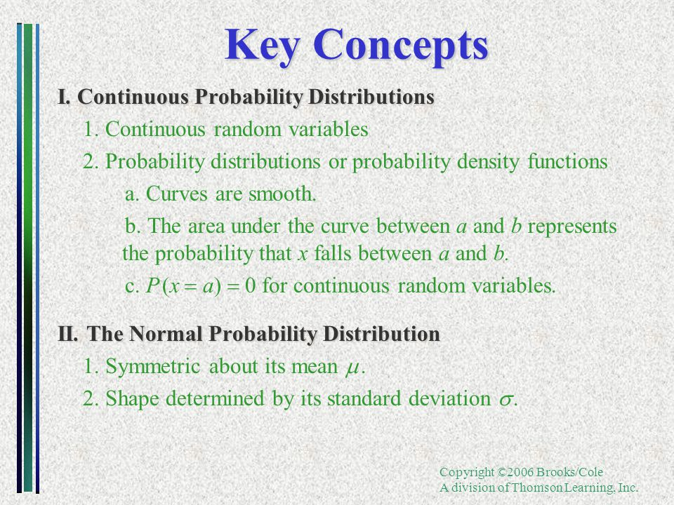 Copyright ©2006 Brooks/Cole A division of Thomson Learning, Inc. Key Concepts I. Continuous Probability Distributions 1. Continuous random variables 2