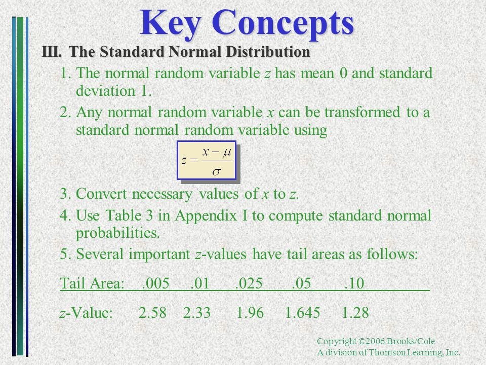 Copyright ©2006 Brooks/Cole A division of Thomson Learning, Inc. Key Concepts III. The Standard Normal Distribution 1. The normal random variable z ha