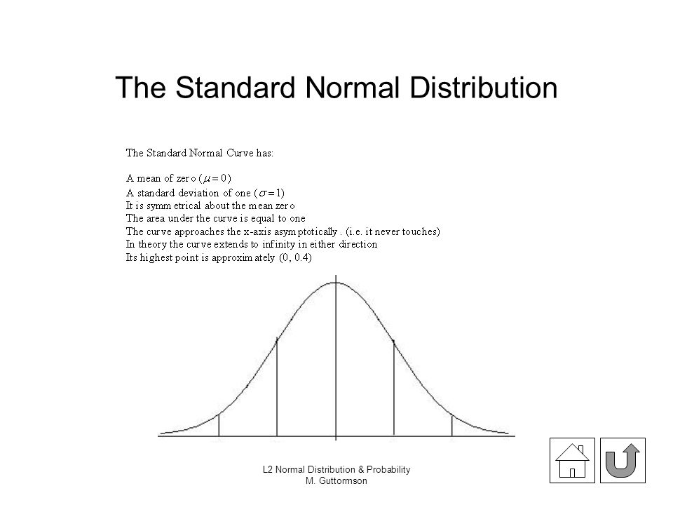 L2 Normal Distribution & Probability M. Guttormson The Standard Normal Distribution