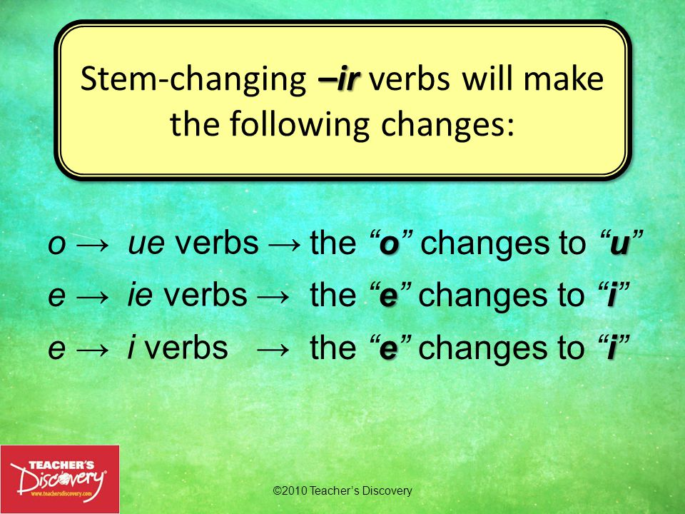 ©2010 Teacher's Discovery –ir Stem-changing verbs, except –ir verbs, nosotros/as will not change in the nosotros/as form.