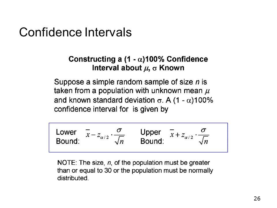 26 Confidence Intervals