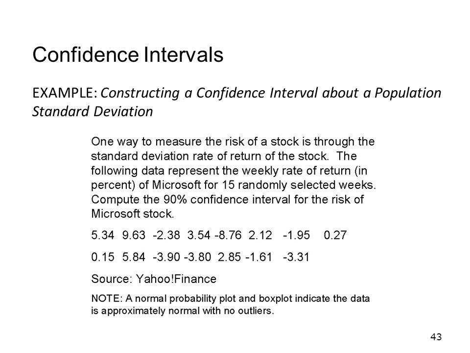 43 EXAMPLE: Constructing a Confidence Interval about a Population Standard Deviation Confidence Intervals