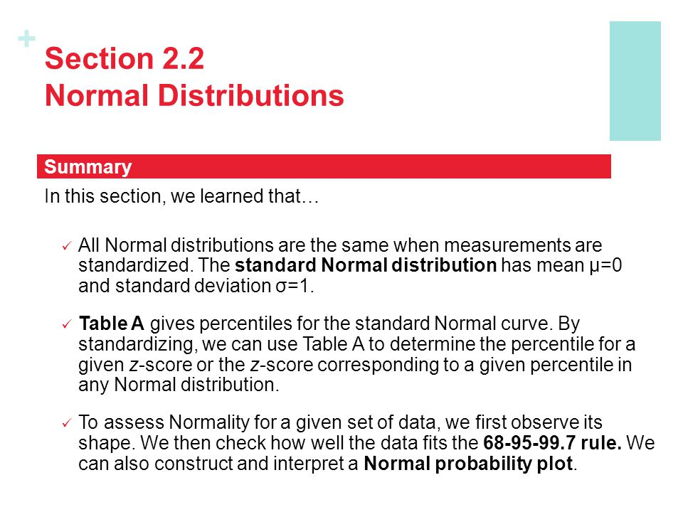 + Section 2.2 Normal Distributions In this section, we learned that… All Normal distributions are the same when measurements are standardized. The sta