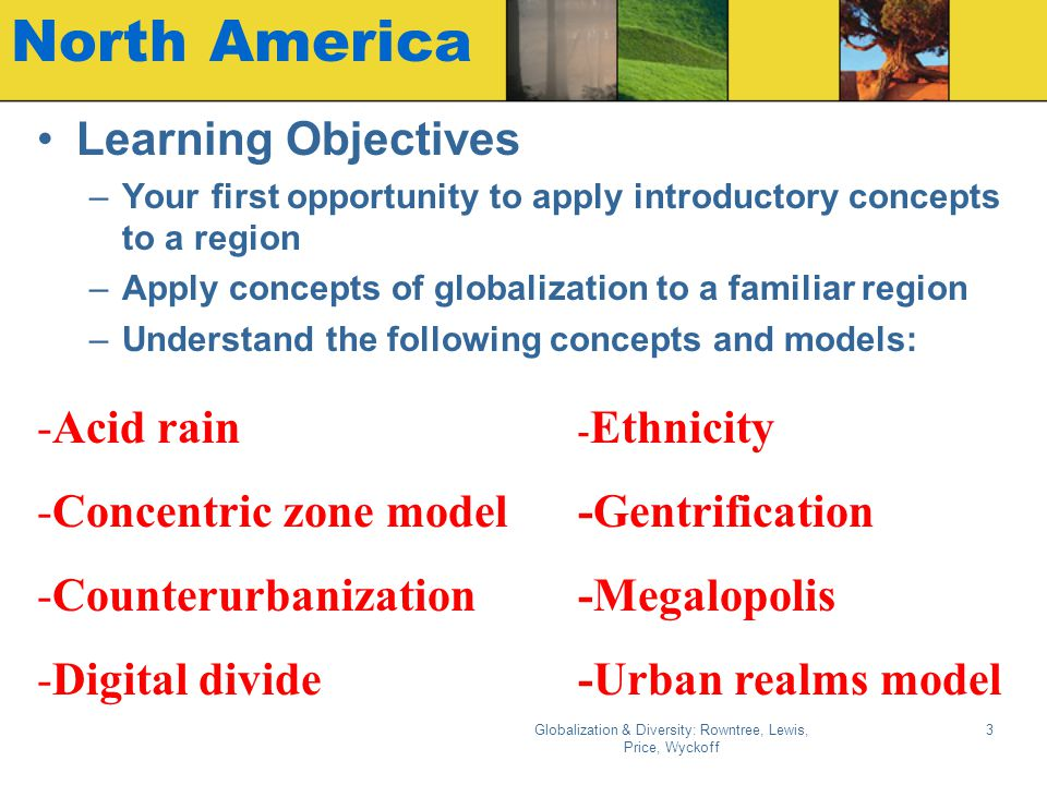 Globalization & Diversity: Rowntree, Lewis, Price, Wyckoff 3 North America Learning Objectives –Your first opportunity to apply introductory concepts to a region –Apply concepts of globalization to a familiar region –Understand the following concepts and models: -Acid rain -Concentric zone model -Counterurbanization -Digital divide - Ethnicity -Gentrification -Megalopolis -Urban realms model