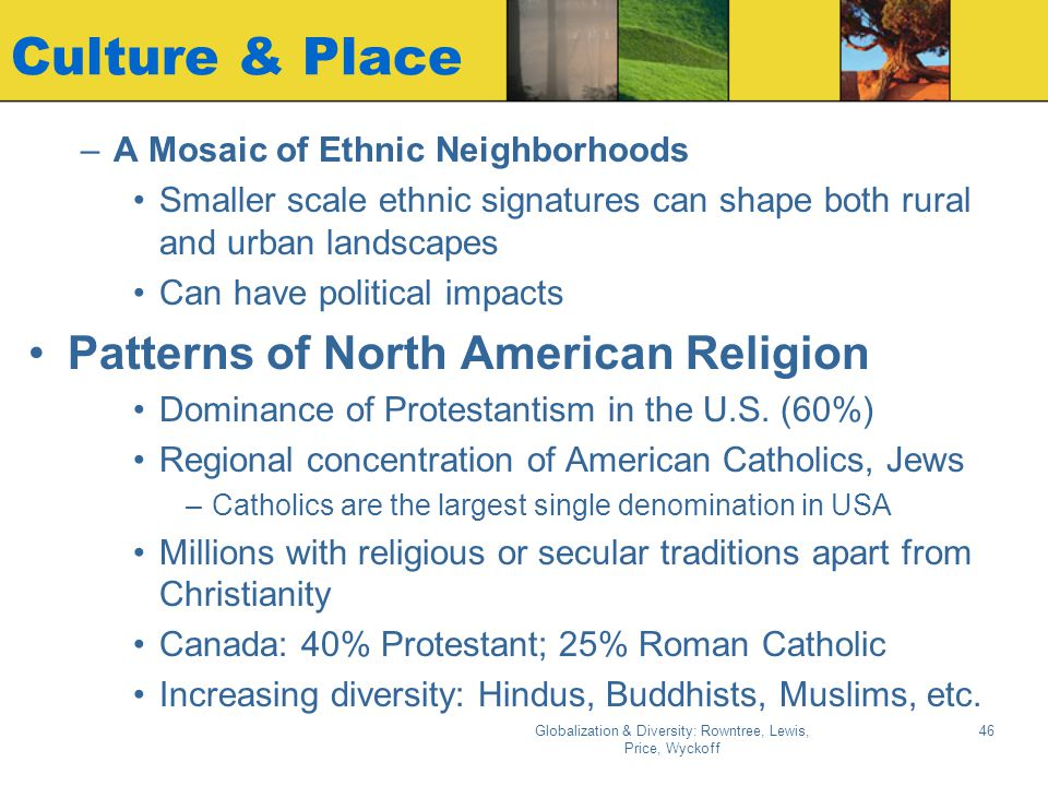 Globalization & Diversity: Rowntree, Lewis, Price, Wyckoff 45 Selected Cultural Regions of North America (Fig. 3.18)