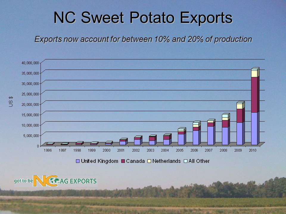 NC Sweet Potato Exports Exports now account for between 10% and 20% of production US $