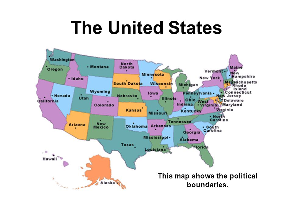 The United States This map shows the political boundaries.