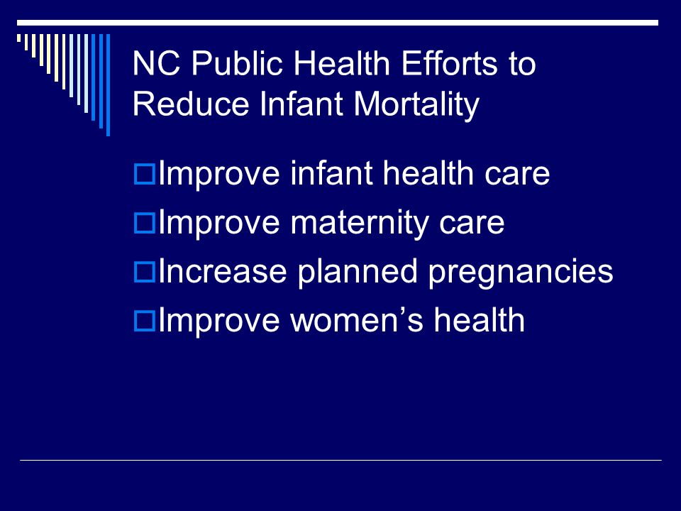 NC Public Health Efforts to Reduce Infant Mortality  Improve infant health care  Improve maternity care  Increase planned pregnancies  Improve wom