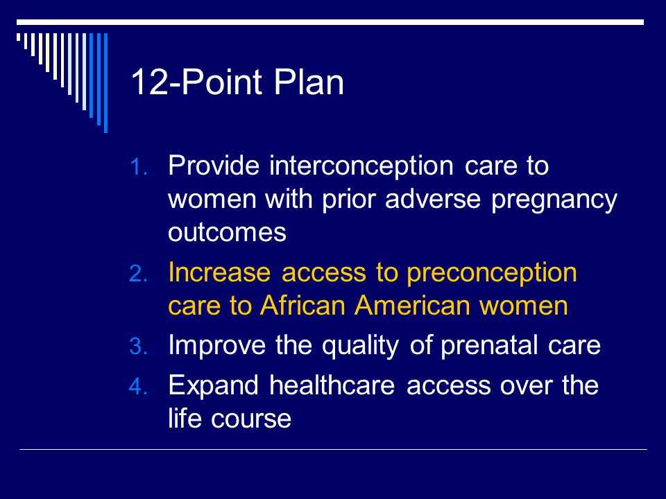 12-Point Plan 1. Provide interconception care to women with prior adverse pregnancy outcomes 2. Increase access to preconception care to African Ameri