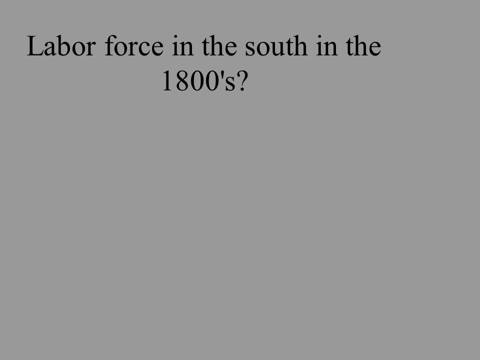 Labor force in the south in the 1800 s