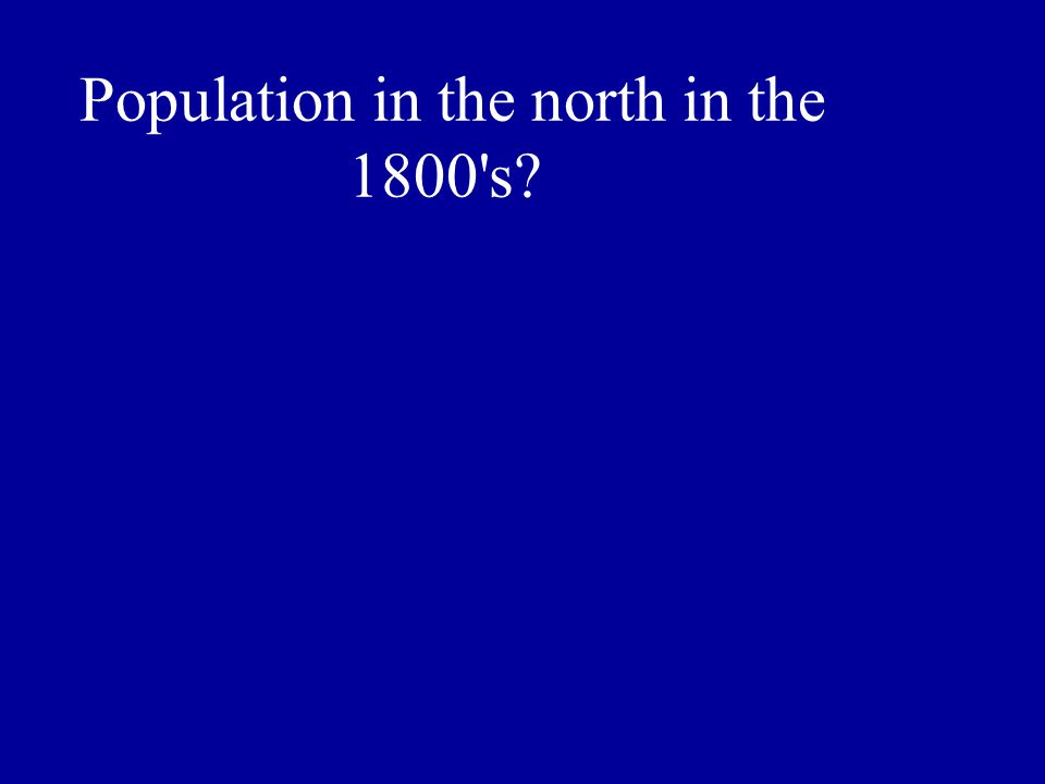 Population in the north in the 1800 s