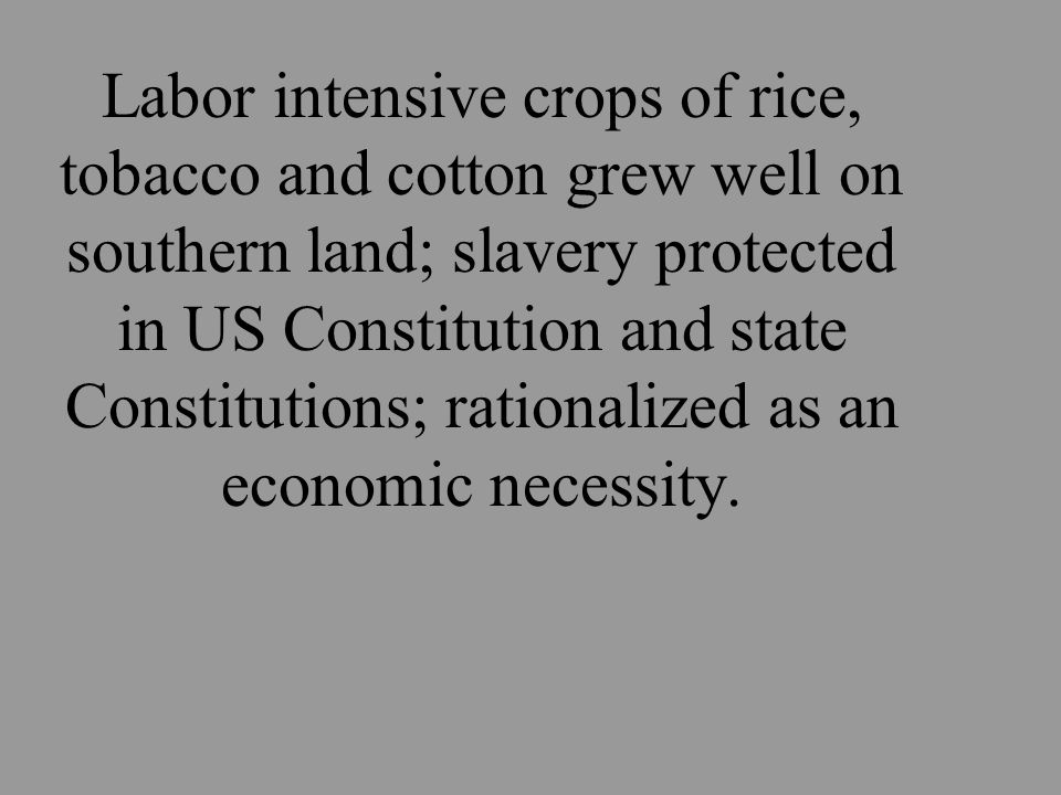 Labor intensive crops of rice, tobacco and cotton grew well on southern land; slavery protected in US Constitution and state Constitutions; rationalized as an economic necessity.