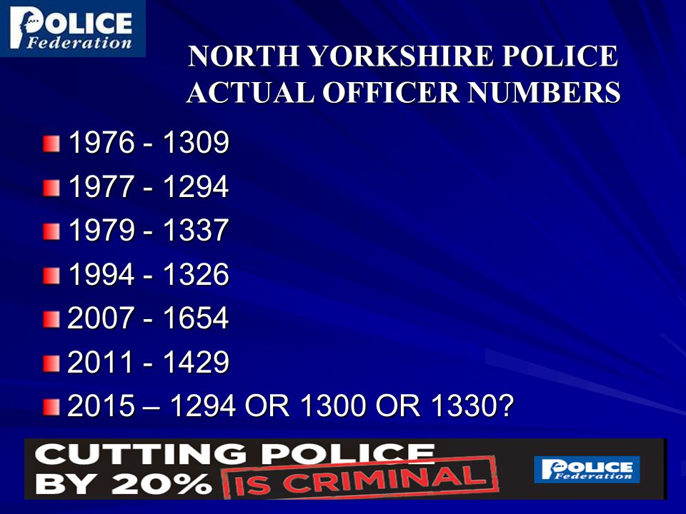 NORTH YORKSHIRE POLICE ACTUAL OFFICER NUMBERS 1976 - 1309 1977 - 1294 1979 - 1337 1994 - 1326 2007 - 1654 2011 - 1429 2015 – 1294 OR 1300 OR 1330