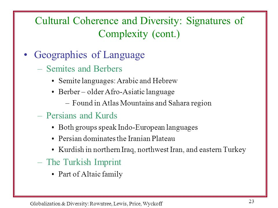 Globalization & Diversity: Rowntree, Lewis, Price, Wyckoff 23 Cultural Coherence and Diversity: Signatures of Complexity (cont.) Geographies of Langua