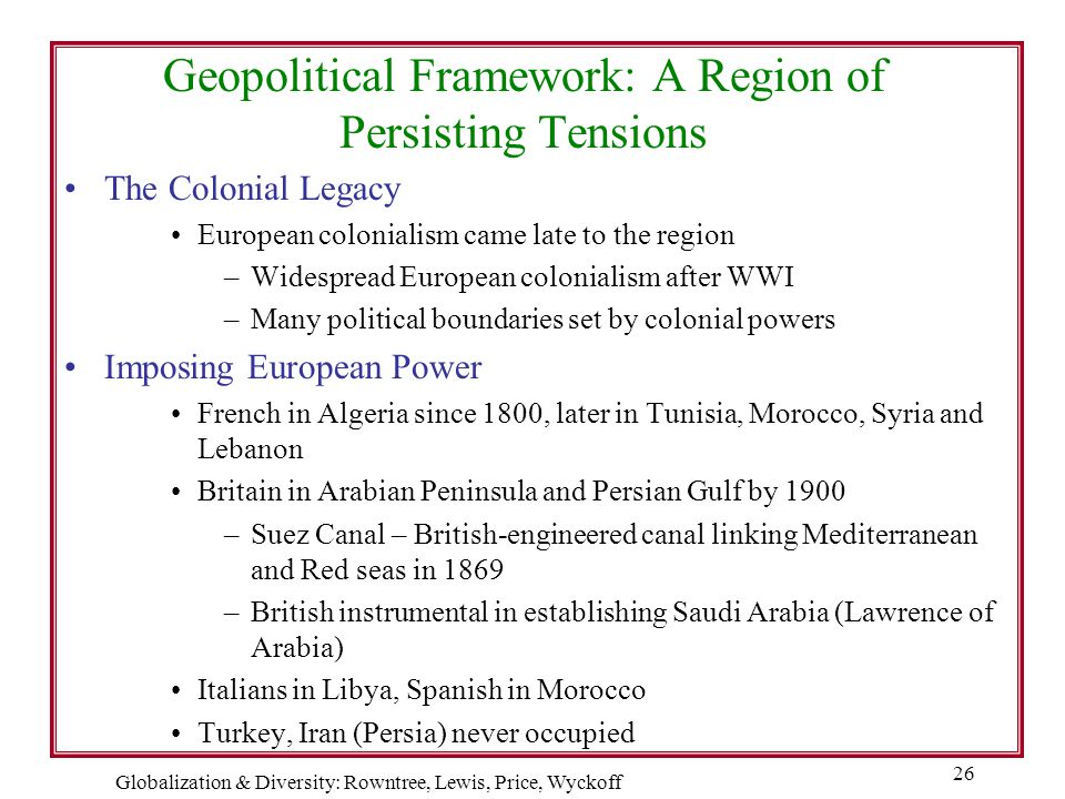 Globalization & Diversity: Rowntree, Lewis, Price, Wyckoff 26 Geopolitical Framework: A Region of Persisting Tensions The Colonial Legacy European col