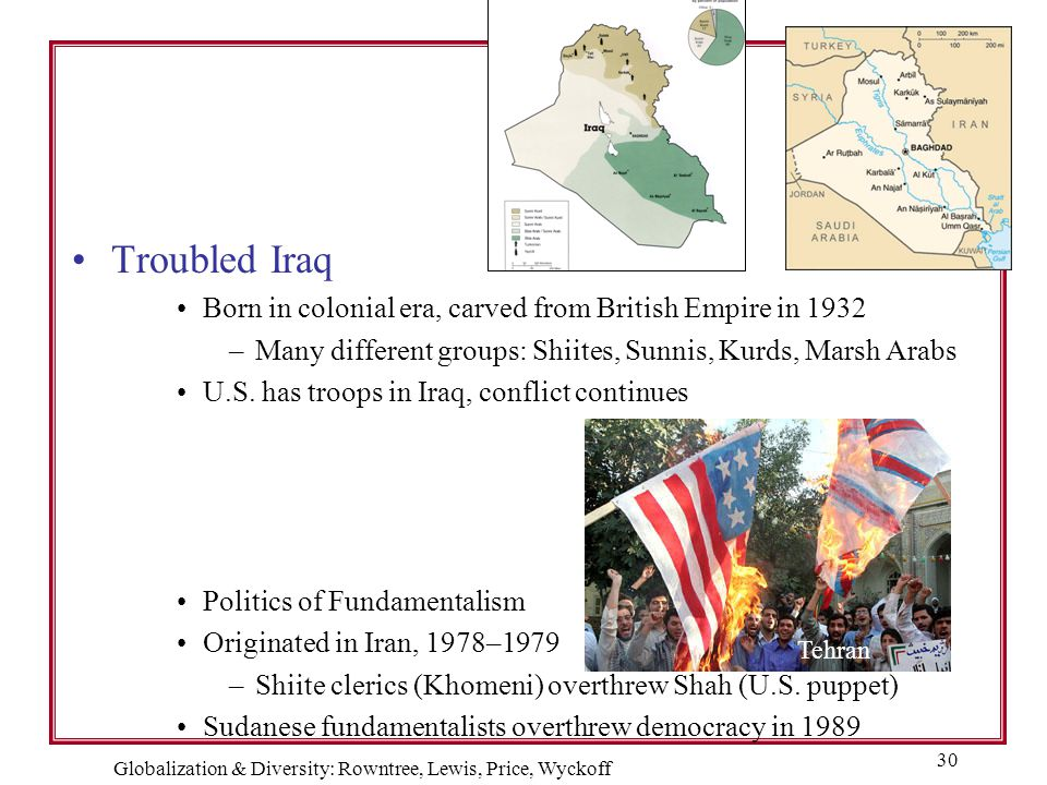Globalization & Diversity: Rowntree, Lewis, Price, Wyckoff 30 Troubled Iraq Born in colonial era, carved from British Empire in 1932 –Many different g