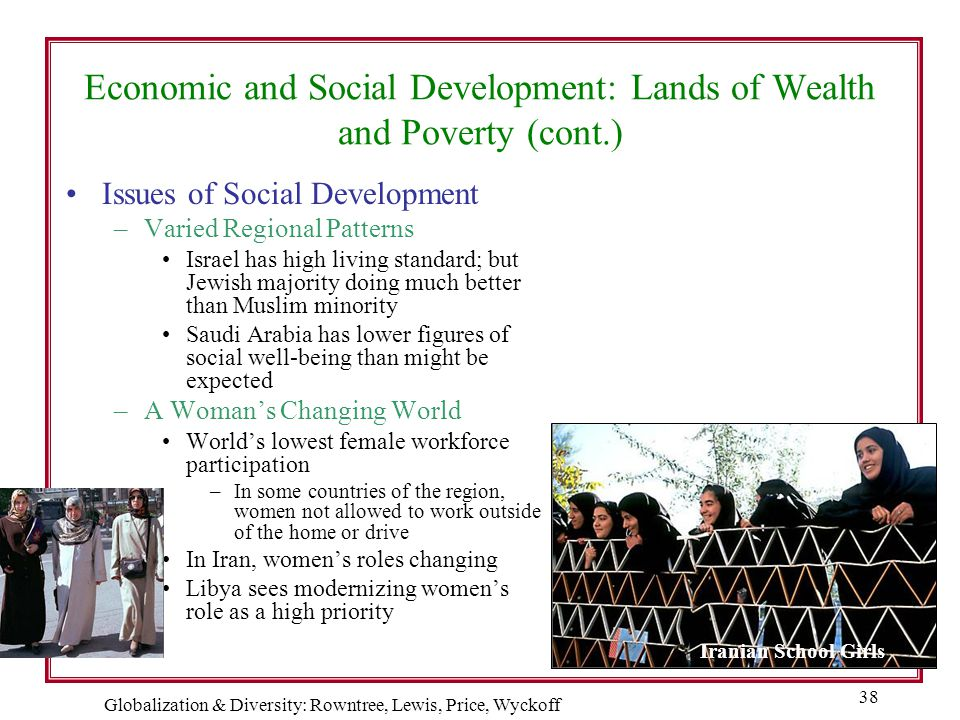 Globalization & Diversity: Rowntree, Lewis, Price, Wyckoff 38 Economic and Social Development: Lands of Wealth and Poverty (cont.) Issues of Social De