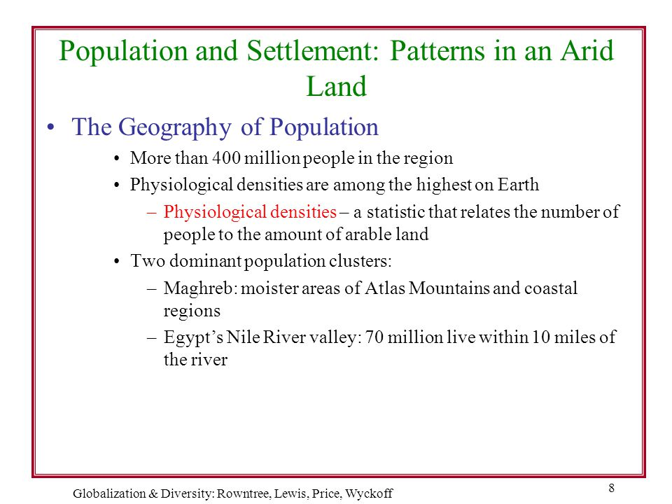 Globalization & Diversity: Rowntree, Lewis, Price, Wyckoff 8 Population and Settlement: Patterns in an Arid Land The Geography of Population More than