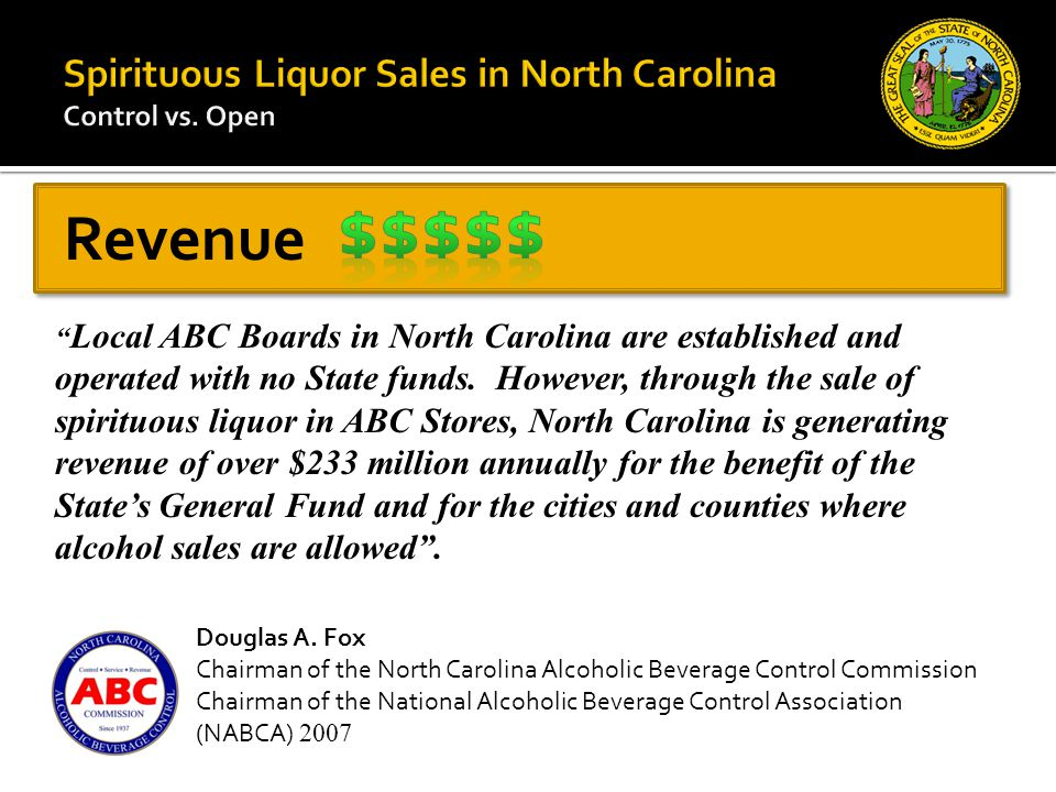 Local ABC Boards in North Carolina are established and operated with no State funds.