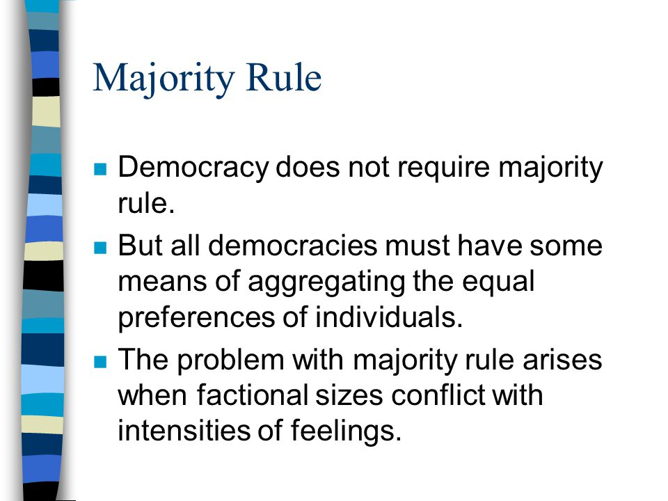 Majority Rule n Democracy does not require majority rule.