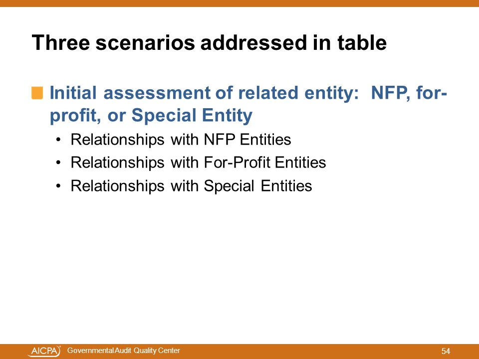 Governmental Audit Quality Center Three scenarios addressed in table Initial assessment of related entity: NFP, for- profit, or Special Entity Relatio