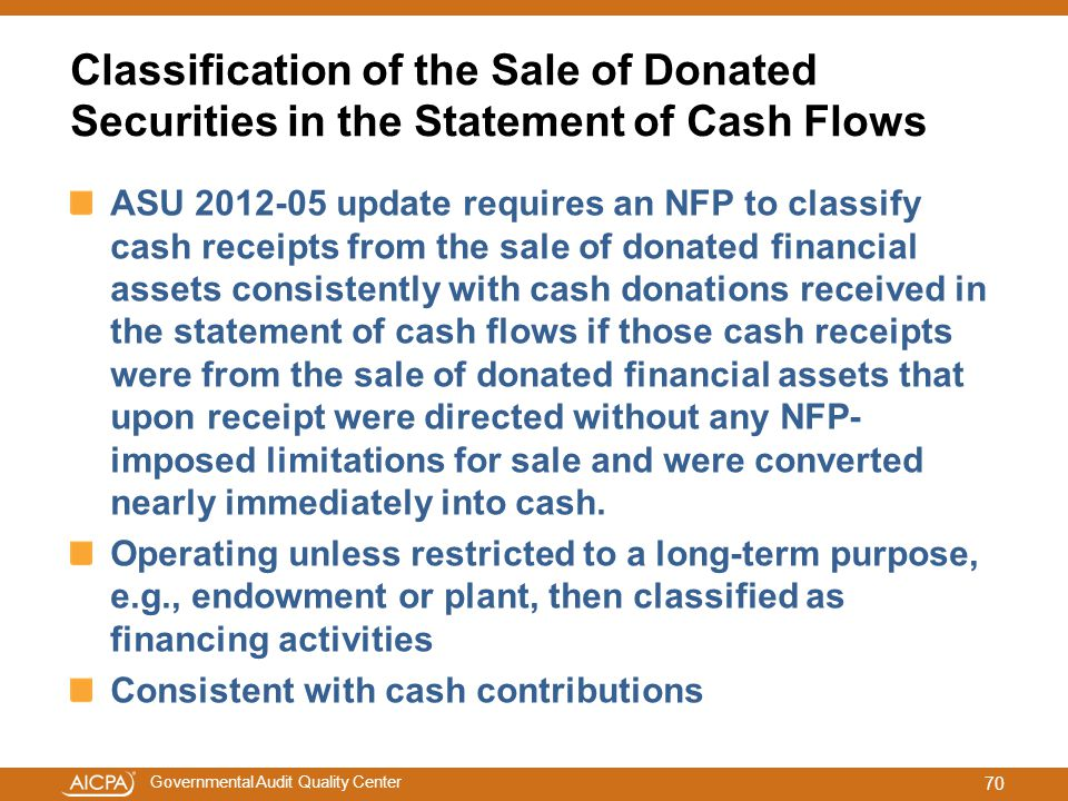 Governmental Audit Quality Center Classification of the Sale of Donated Securities in the Statement of Cash Flows ASU 2012-05 update requires an NFP t