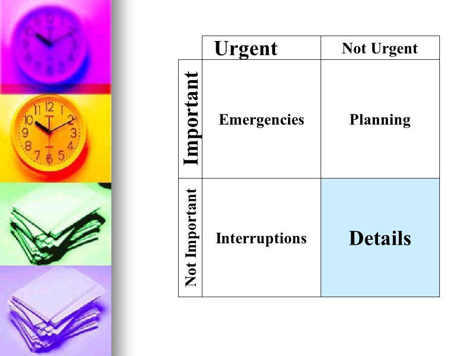 EmergenciesPlanning Details Interruptions Not Important Important Urgent Not Urgent