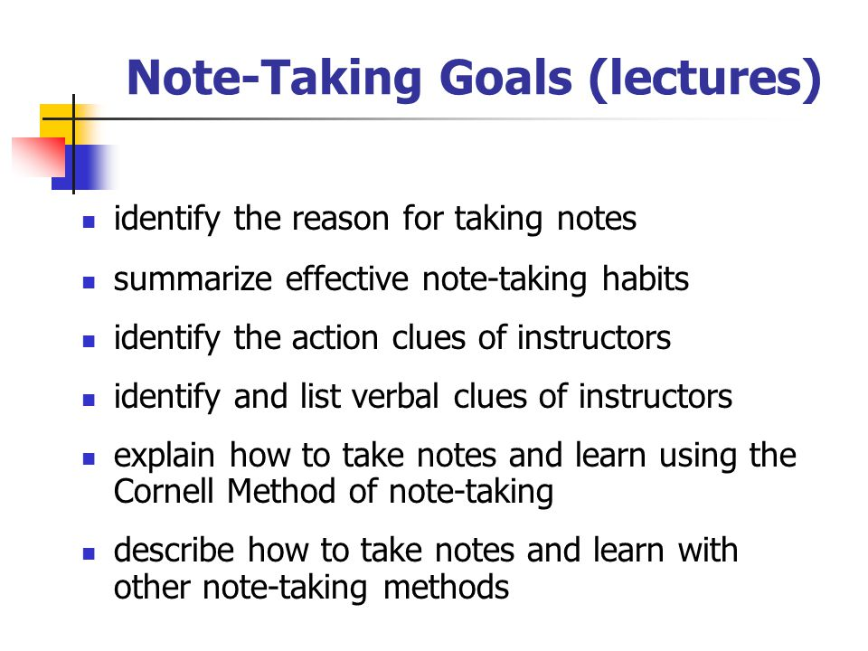 Note-Taking Goals (reading) discuss the importance of reading actively define highlighting and explain the most effective way to use it distinguish between two types of margin notes and explain how to use them describe full notes and discuss when to use them