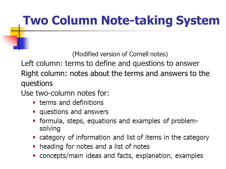Two Column Note-taking System (Modified version of Cornell notes) Left column: terms to define and questions to answer Right column: notes about the t