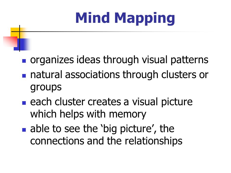 Mind Mapping organizes ideas through visual patterns natural associations through clusters or groups each cluster creates a visual picture which helps