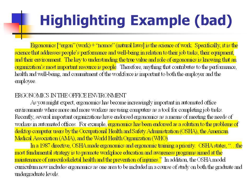 Highlighting Example (bad)