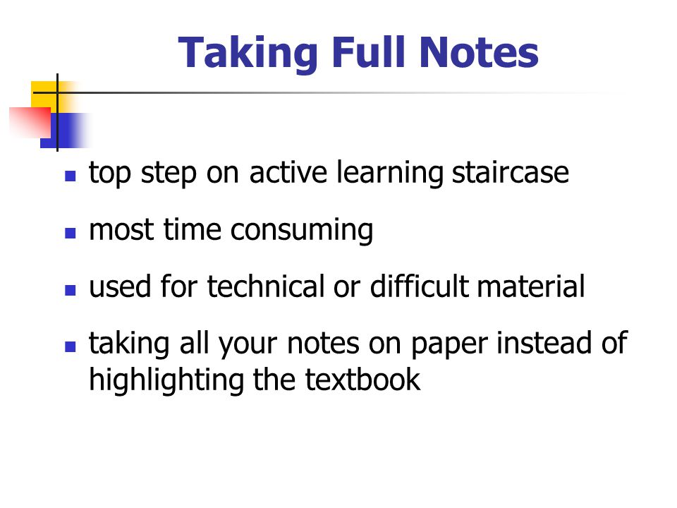 Taking Full Notes top step on active learning staircase most time consuming used for technical or difficult material taking all your notes on paper in