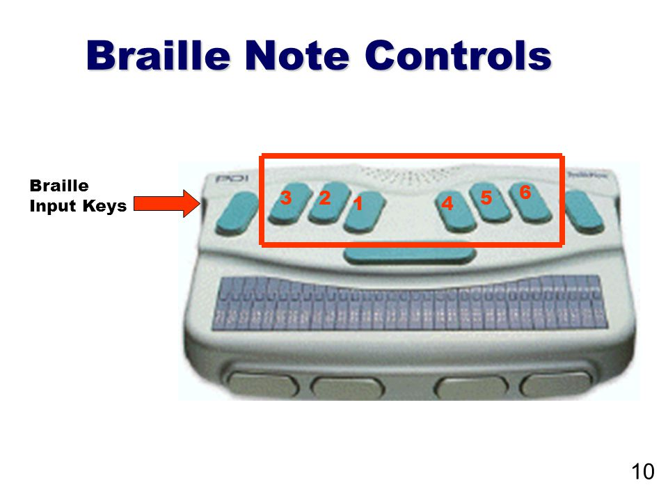 Braille Note Controls Braille Input Keys 1 23 4 5 6 10