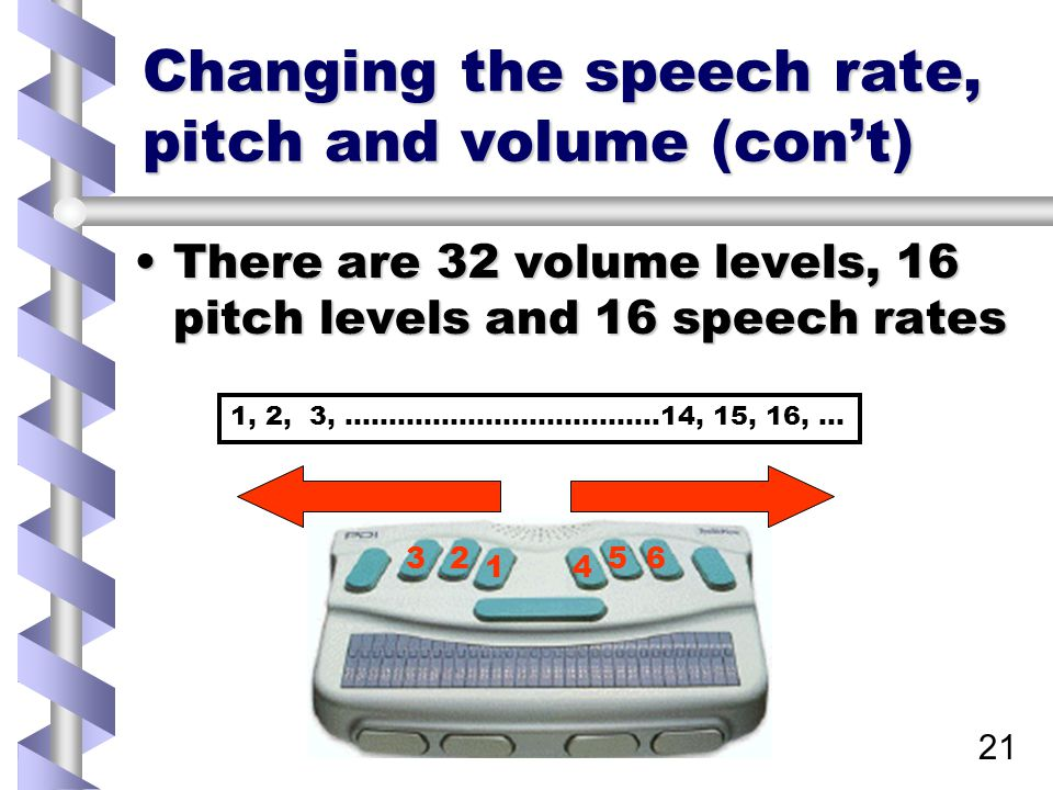 21 Changing the speech rate, pitch and volume (con't) There are 32 volume levels, 16 pitch levels and 16 speech ratesThere are 32 volume levels, 16 pitch levels and 16 speech rates 1 23 4 56 1, 2, 3, ………………………………14, 15, 16, …