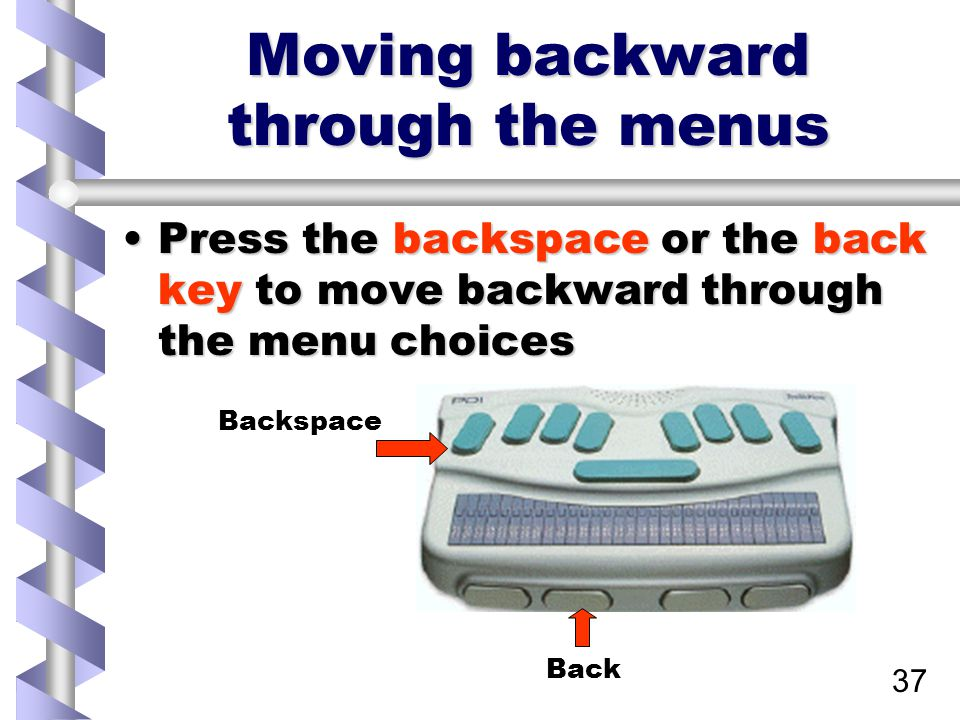 37 Moving backward through the menus Press the backspace or the back key to move backward through the menu choicesPress the backspace or the back key to move backward through the menu choices Back Backspace