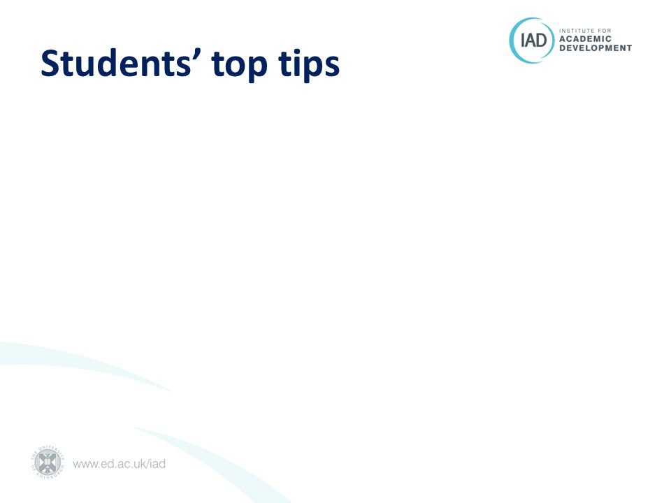 Students' top tips