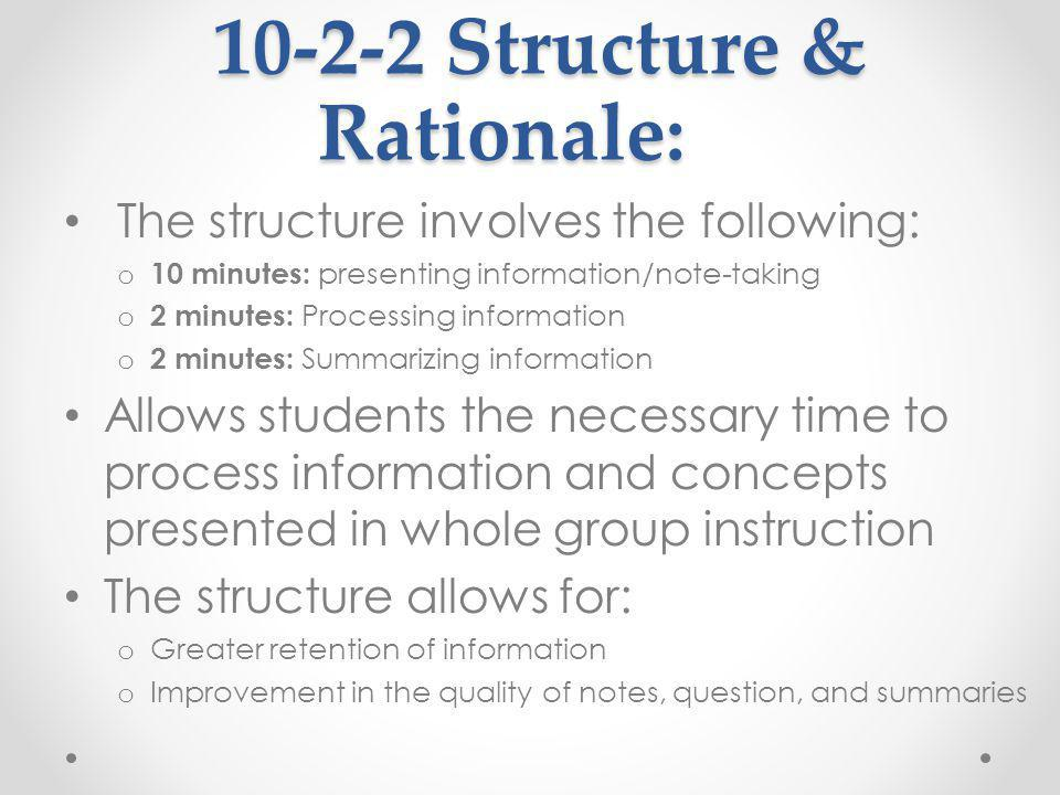 10-2-2 Structure & Rationale: 10-2-2 Structure & Rationale: The structure involves the following: o 10 minutes: presenting information/note-taking o 2