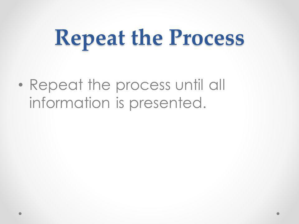 Repeat the Process Repeat the process until all information is presented.