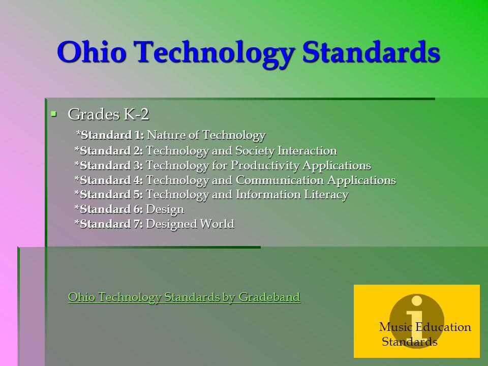 Ohio Technology Standards  Grades K-2 * Standard 1: Nature of Technology *Standard 2: Technology and Society Interaction *Standard 3: Technology for