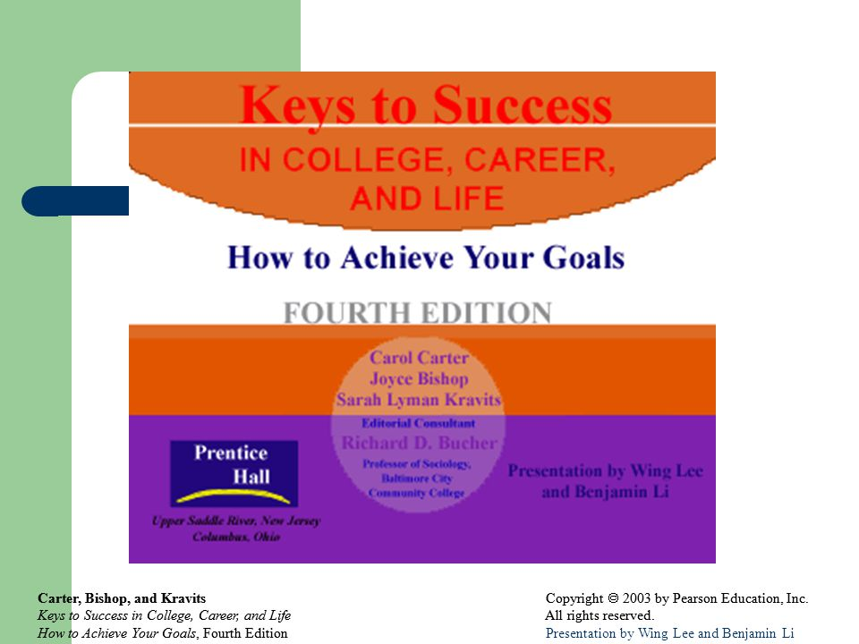 Carter, Bishop, and Kravits Copyright  2003 by Pearson Education, Inc. Keys to Success in College, Career, and Life All rights reserved. How to Achie