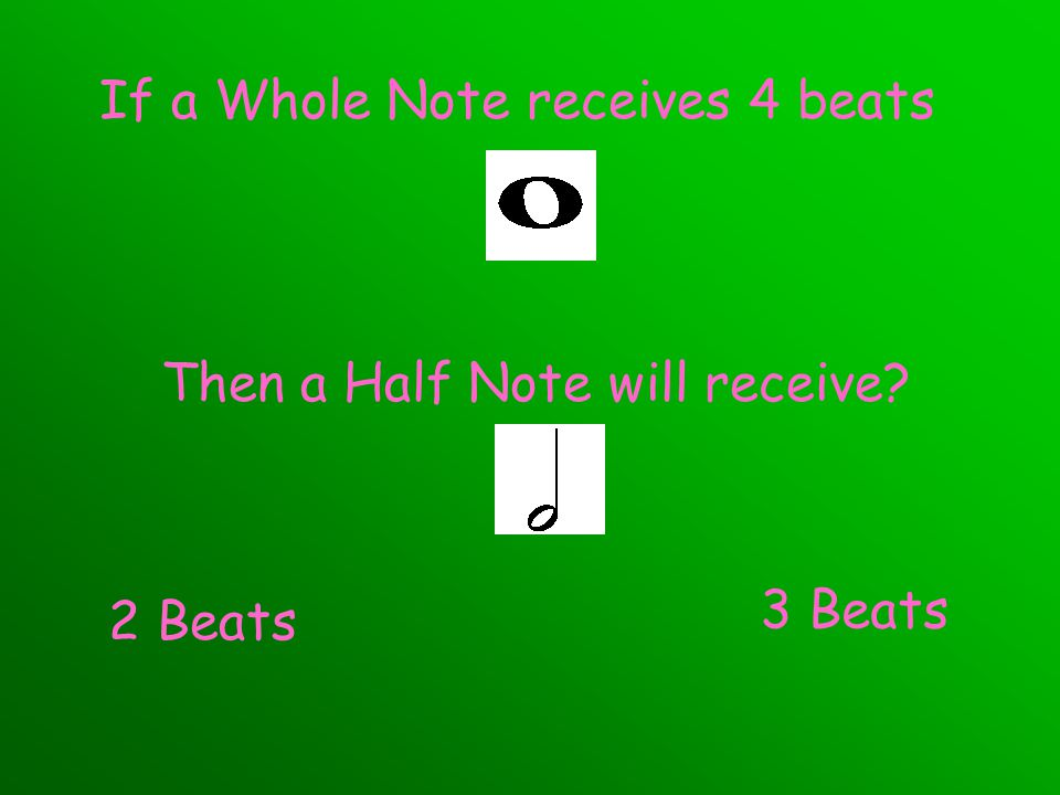 If a Whole Note receives 4 beats Then a Half Note will receive? 2 Beats 3 Beats