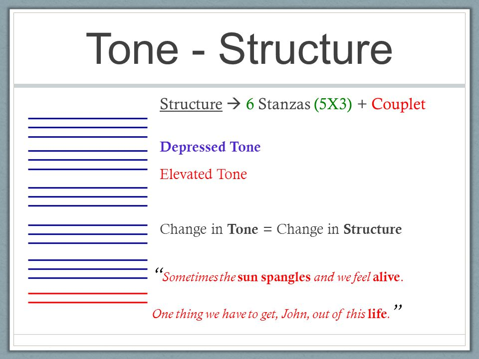 """Tone - Structure Structure  6 Stanzas (5X3) + Couplet Depressed Tone Elevated Tone Change in Tone = Change in Structure """" Sometimes the sun spangles"""