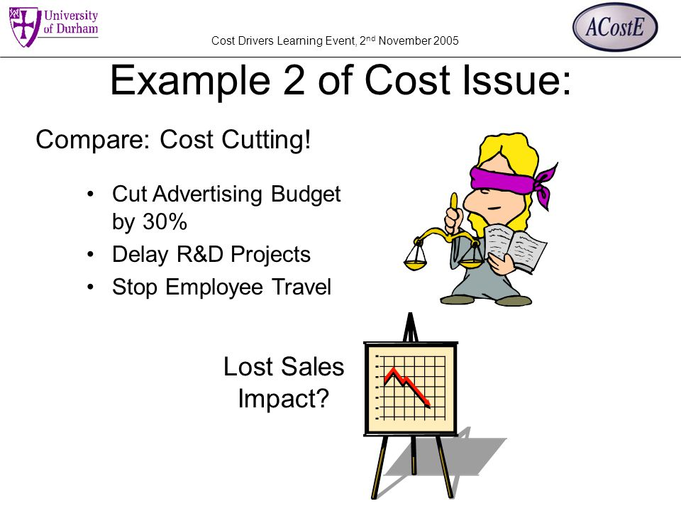Cost Drivers Learning Event, 2 nd November 2005 Example 2 of Cost Issue: Cut Advertising Budget by 30% Delay R&D Projects Stop Employee Travel Compare: Cost Cutting.