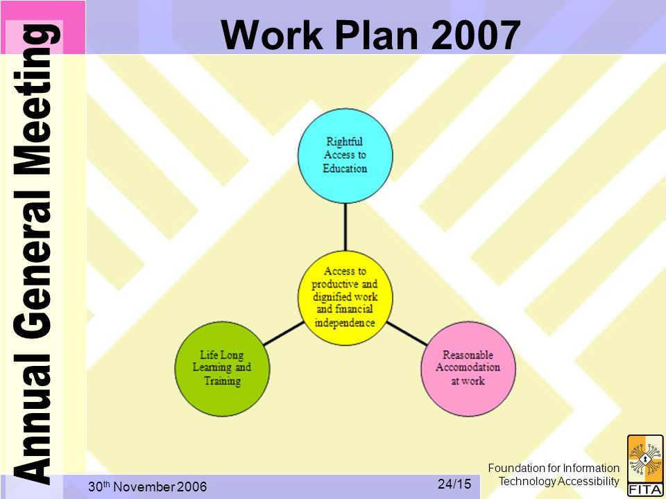 Foundation for Information Technology Accessibility 30 th November /15 Work Plan 2007