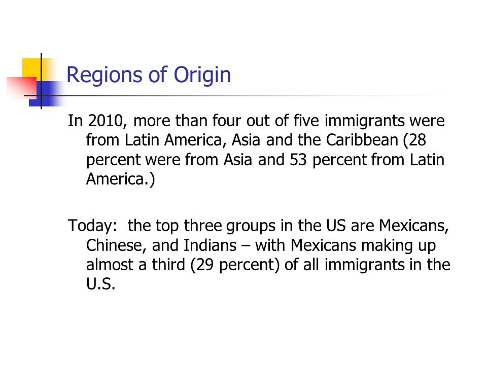 Regions of Origin In 2010, more than four out of five immigrants were from Latin America, Asia and the Caribbean (28 percent were from Asia and 53 per