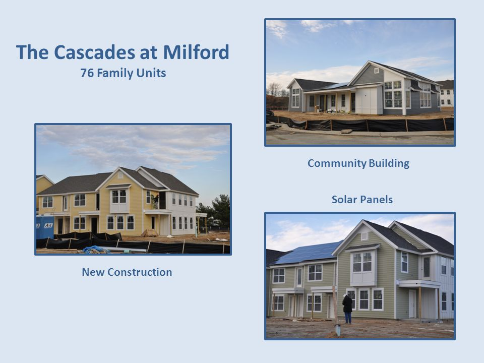 The Cascades at Milford 76 Family Units Community Building Solar Panels New Construction