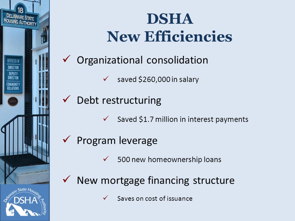 DSHA New Efficiencies Organizational consolidation saved $260,000 in salary Debt restructuring Saved $1.7 million in interest payments Program leverage 500 new homeownership loans New mortgage financing structure Saves on cost of issuance