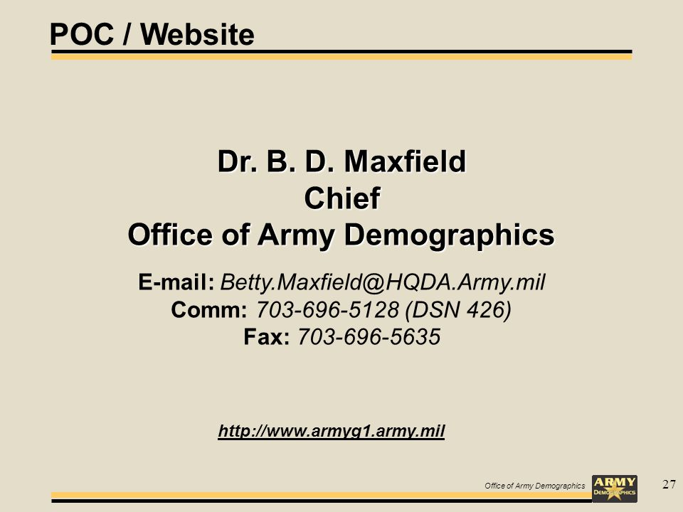 Office of Army Demographics 27 Dr. B. D.