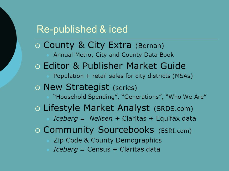 Re-published & iced  County & City Extra (Bernan) Annual Metro, City and County Data Book  Editor & Publisher Market Guide Population + retail sales